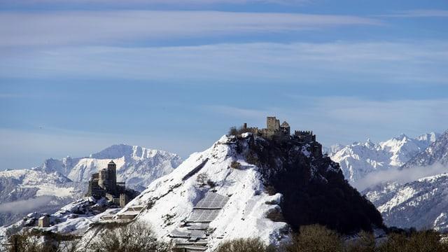Die beiden Bauten, im Hintergrund Schneeberge