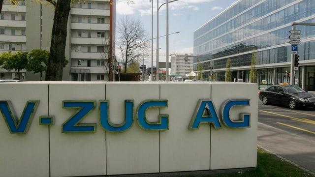 Firmenschild der V-Zug AG in Zug.