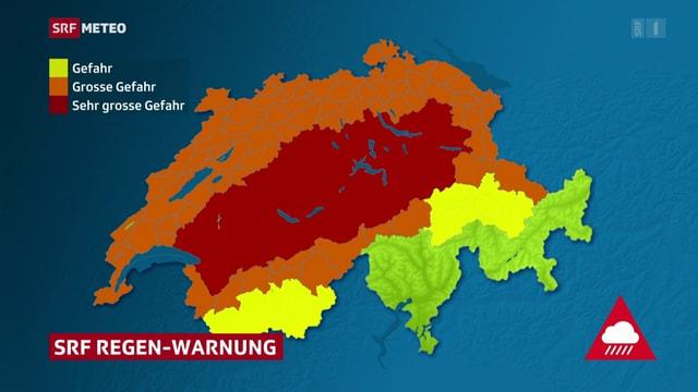 purtret da la carta svizra che mussa cotschen la Svizra Centrala, oransch l'entir nord da la Svizra e las regiuns enturn las Prealps, sulet il Vallais ed il nord dal Grischun èn mellen. Il Tessin e las valladas dal Grischun central e dal sid èn verdas.