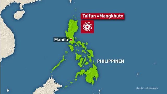 Der Taifun bewegt sich mit etwa 30 Kilometern pro Stunde auf die nördliche Hauptinsel Luzon zu.