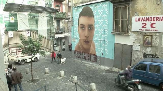 Grosses Wandbild an Piazza