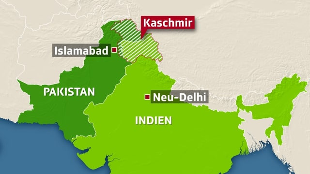 Karte mit Pakistan, Kaschmir und Indien