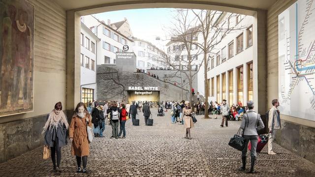 Visualisierung einer S-Bahn-Haltestelle beim Basler Spiegelhof.