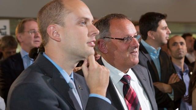 Joel Thüring neben Ratskollegen Rutschmann.