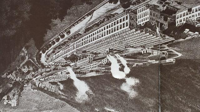 Zeichnung einer Fabrik mit rauchenden Kaminen