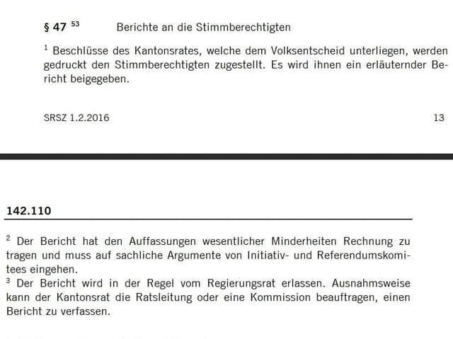 Screenshot der Geschäftsordnung für den Kantonsrat Schwyz.