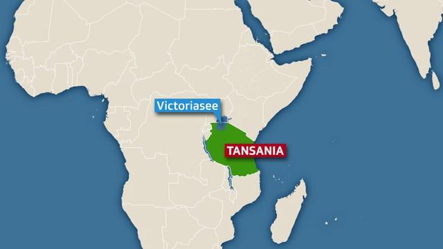Karte von Tansania.