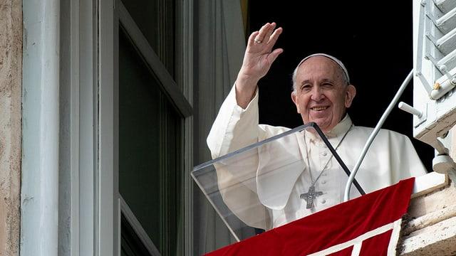 Papst Franziskus am Fenster.