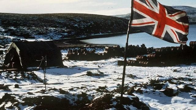Die britische Flagge weht auf den Falklandinseln