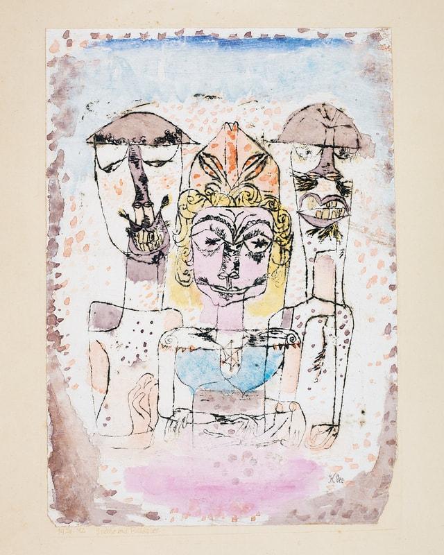 Kolorierte Zeichnung dreier Figuren.