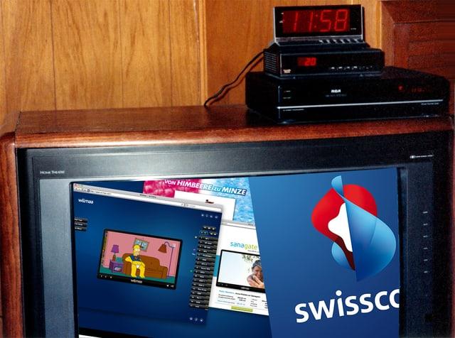 Ein alter Fernseher mit Videorekorder zeigt das Logo der Swisscom und einen Screenshot der Wilmaa-Internet-Seite