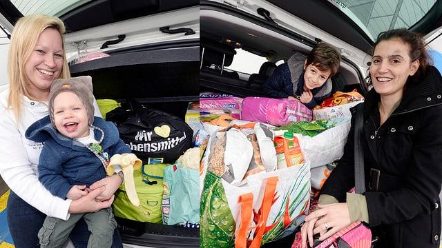 Mütter posieren mit ihren Kindern vor gefüllten Einkaufstaschen im Kofferraum.