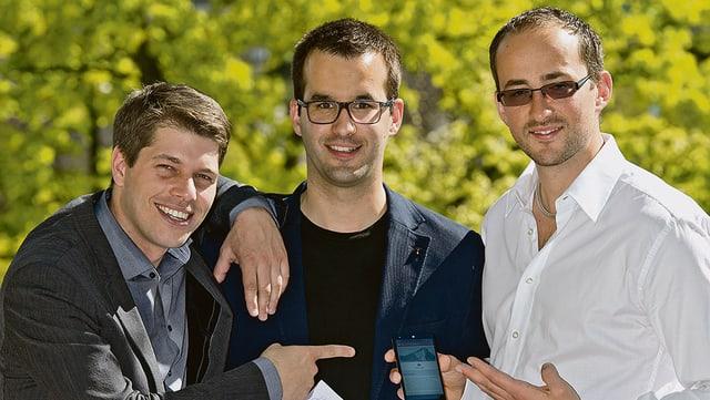 Die drei Gründer von Sherpany.