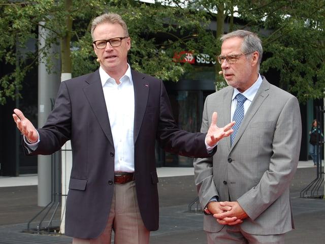 SBB-Chef Andreas Meyer und Stadtpräsident Alexander Tschäppät.
