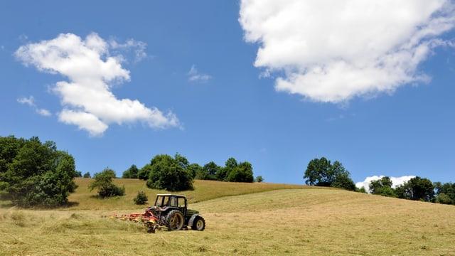 Ein Bauer ist mit dem Traktor beim Heuen.