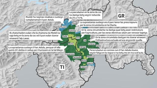 Charta da geografia che mussa las vischnancas dal Parc Adula e lur opiniuns en connex cun il parc