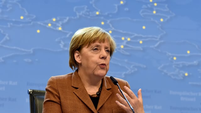 Die deutsche Bundeskanzlerin Angela Merkel an einer Medienkonferenz.