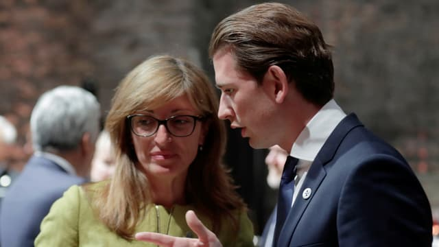 Ekaterina Zaharieva und Sebastian Kurz im Gespräch.