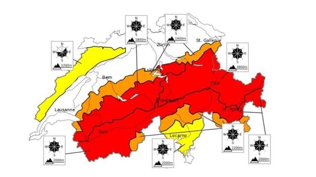 Situaziun da lavinas en Svizra a las 08:00.