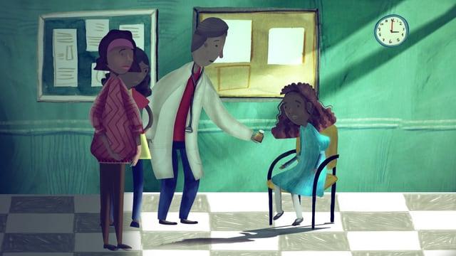 Mädchen und ihre Familie beim Arzt.