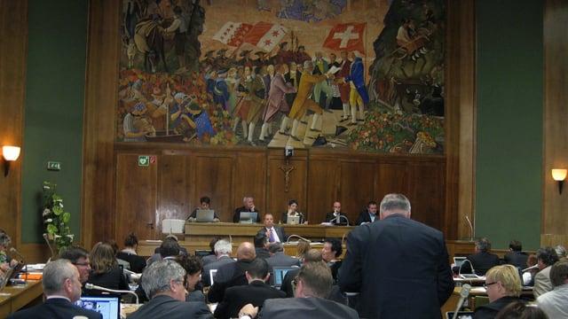 Blick in den Kantonsratssaal (Grossrat) im Wallis