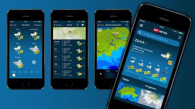Smartphone mit der SRF Meteo App