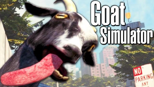 Eine Ziege der die Zunge aus dem Mund hängt, ist der Protagonist im Goat Simulator.