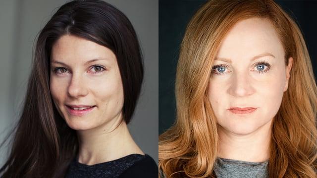 Zwei Frauenporträts nebeneinander: eine Frau mit brauen Haaren, eine mit rot-blonden.