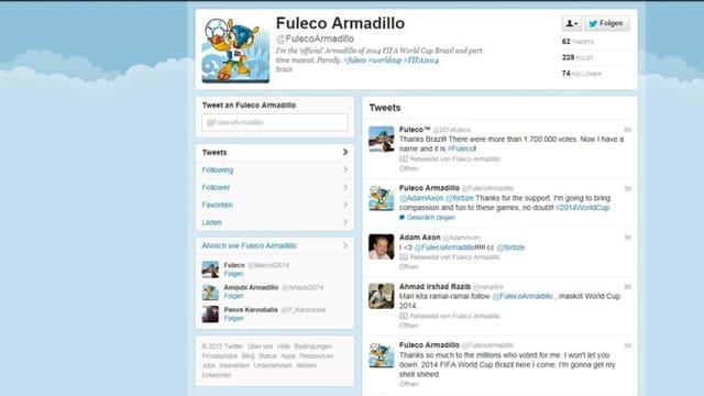 Das Maskottchen hat sogar seinen eigenen Twitter-Account.