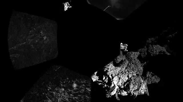 Panoramabild von Philae: Ein dunkler Fleck zeigt den Lander. Daneben sind die Füsse von Philae und der Komet von Philae zu sehen.