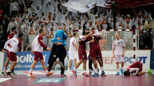 Katar feiert seinen Viertelfinal-Einzug.