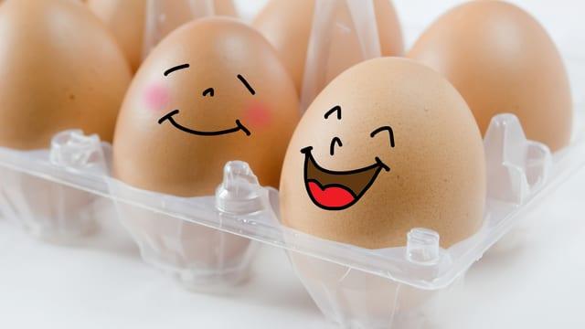 Eine Schachtel mit Eiern, zwei davon mit Gesichtern bemalt.