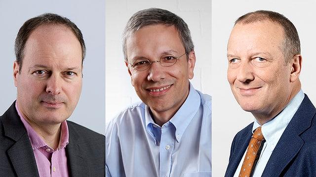 Philipp Landmark, Chefredaktor St. Gallen Tagblatt und Ostschweiz am Sonntag, André Moesch, Mitglied der Geschäftsleitung der St. Gallen Tagblatt AG und SRG-Generaldirektor Roger de Weck.