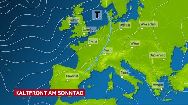Isobarenkarte: Eine Kaltfront nähert sich aus Westen der Schweiz.