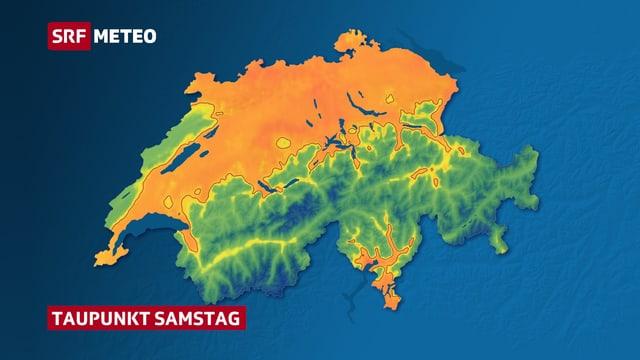 Karte der Schweiz mit farbig eingezeichnetem Taupunkt vom Samstag. Orange Fläche zeigen einen Taupunkt über der Schwüle-Grenze.