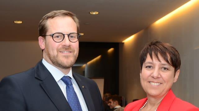 Regierungsräte Kaspar Michel und Petra Steimen nach der Nomination.