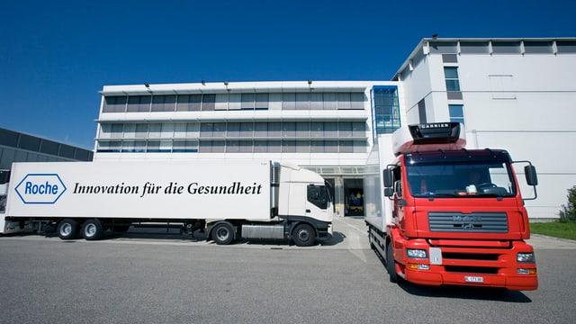 Roche-Lastwagen auf Firmenareal