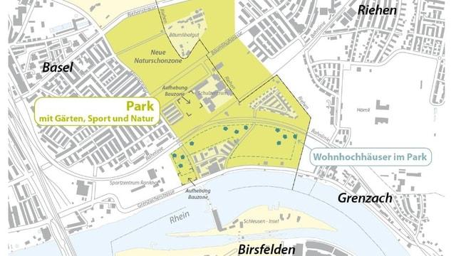 Plan der Bauzone im Osten von Basel,  links  die Stadt, rechts die Gemeinde Riehen.