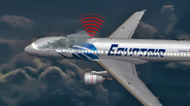 Animation eines Flugzeugs mit Rauch und Sendesignalen.