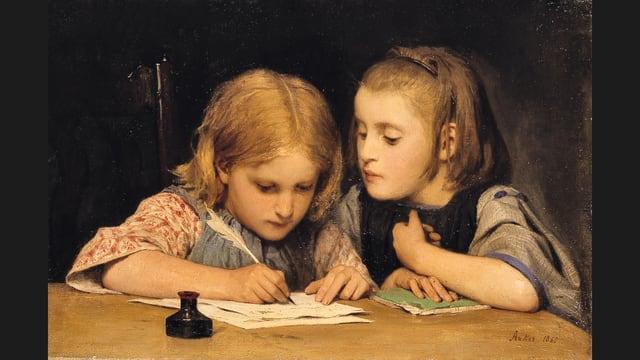 Ein Gemälde von Albert Anker, das die Schreibstunde zweier Mädchen zeigt.