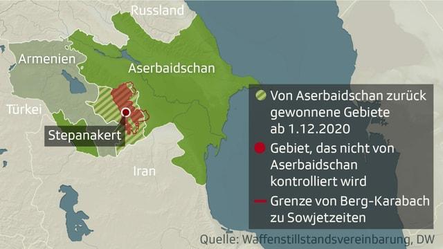 Karte von Armenien und Aserbaidschan.
