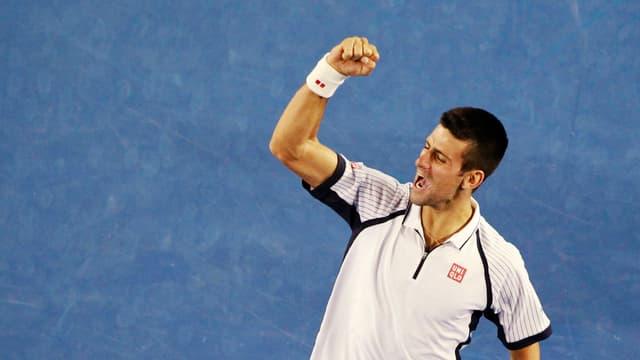 Novak Djokovic vor dem Halbfinal gegen David Ferrer.