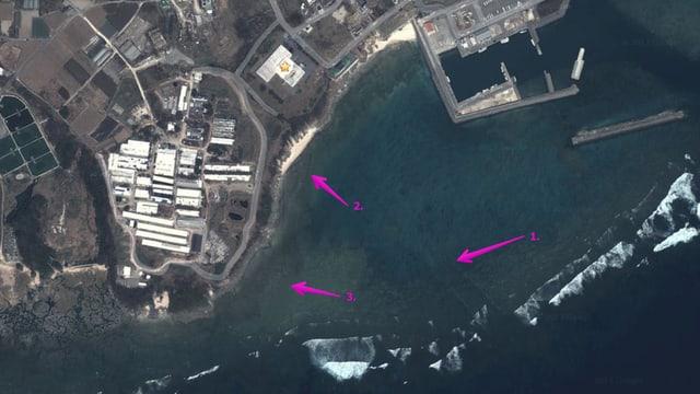 Die Kabelkanäle sind auf dem Satellitenbild sichtbar.