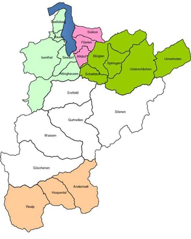 Karte vom Kanton Uri mit den Gemeinden