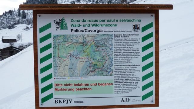 Ina tabla che marca la zona da ruaus.