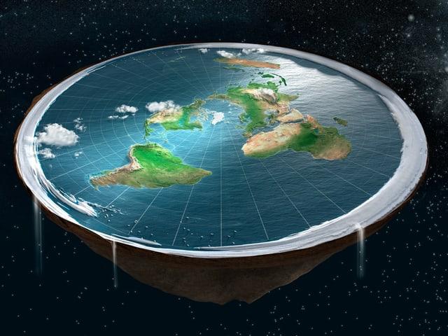 Animation von der Erde als Scheibe.