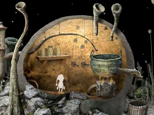 Ein Zwerg steht in einer märchenhaften Höhle.