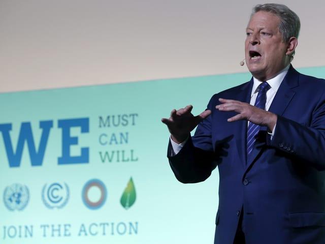 Al Gore spricht an einer Umweltschutz-Veranstaltung.