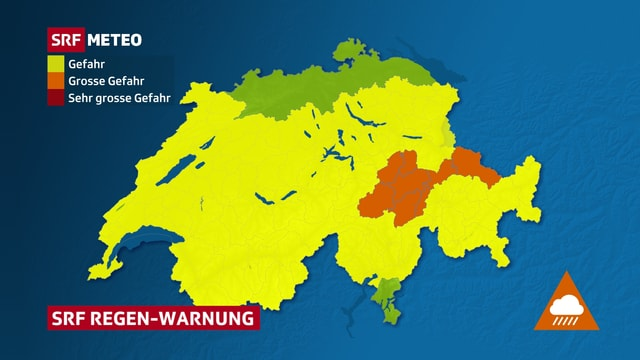 Ein Karte zeigt Flächen mit starkem Regen.