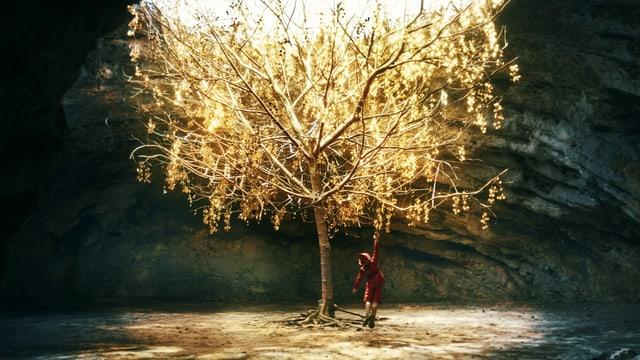 Gold leuchtender Baum und Junge, der daran hochspringt.